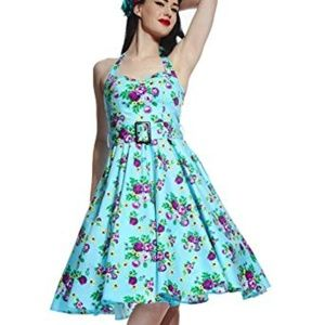 Blue Floral Swing Dress, Hellbunny Vixen (MD)